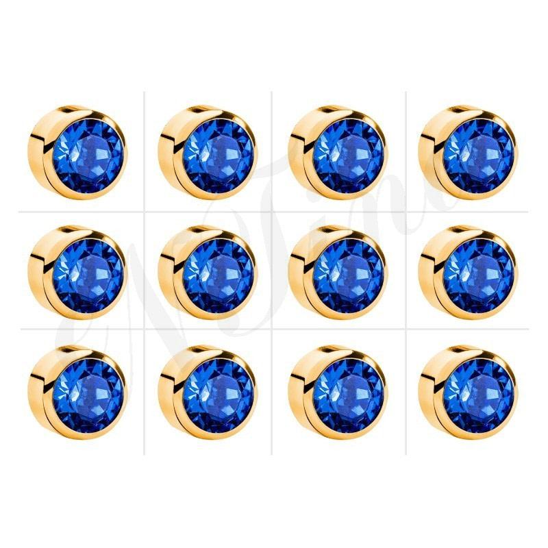 Nina Kulak Delme Küpesi Altın Kaplama - Mavi Zirkon